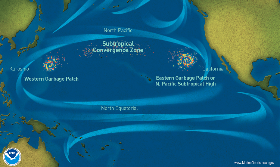 How the garbage floats in the oceans