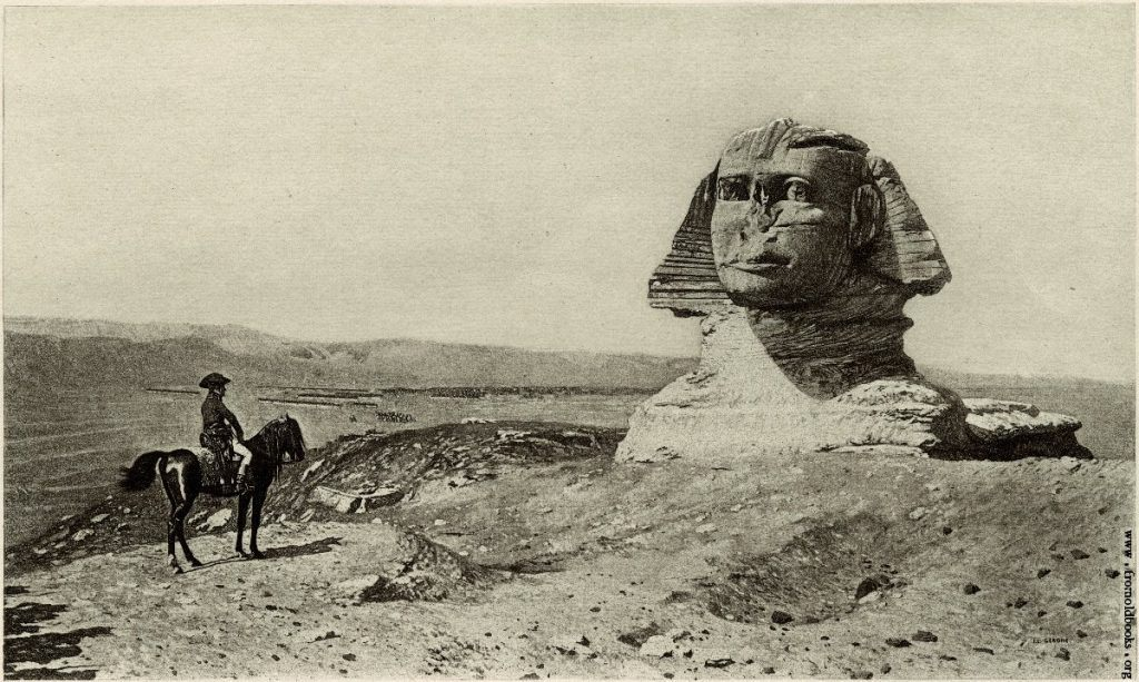 An image of Napoleon on horse back in front of the Great Sphinx