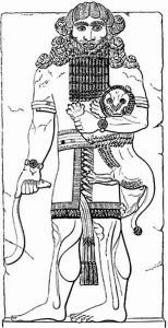 Gilgamesh holding a lion in his arms.