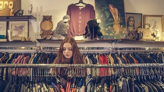Girl shopping for clothes
