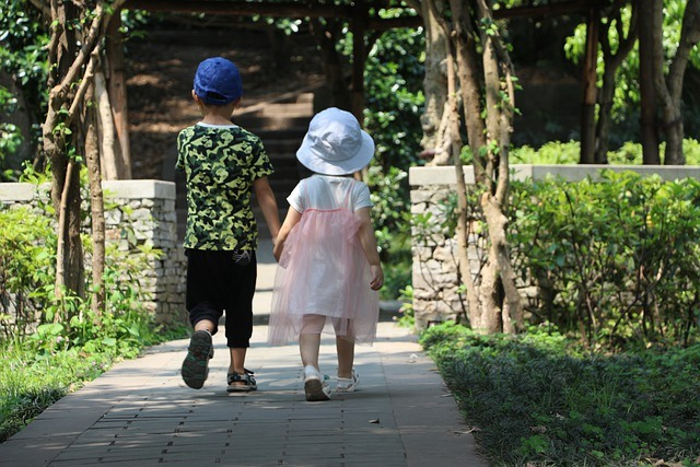 Small boy and girl
