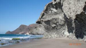 the unusual rocks on the playa de monsul