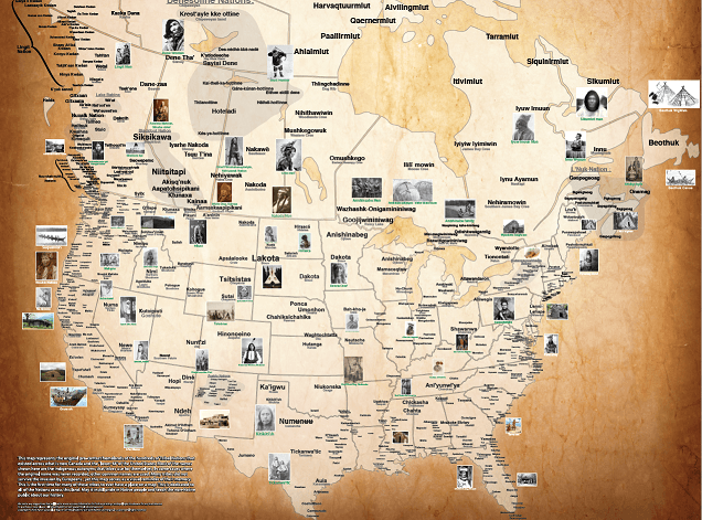 pre contact map of the tribal nations of NA