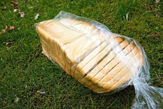White bread in plastic bag