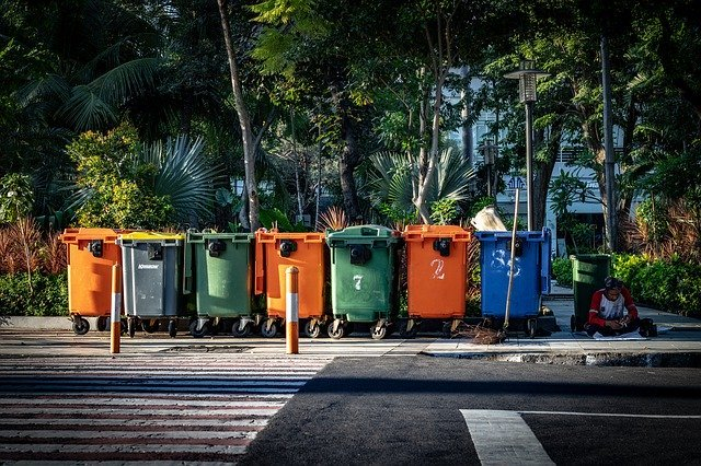 Recycle bins on the street